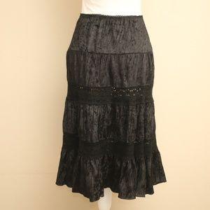 NEW Rampage Black Lace Velvet Boho Skirt M